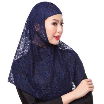 New Fashion Full Cover Muslim Hijab Two Piece Set Lace Solid Islamic Turban Cap Beanies Dark Blue - intl