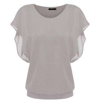 Linemart Stylish Fashion Lady Women Casual T-shirt Chiffon Short Tops Blouse ( Grey ) - intl
