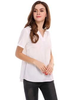 Linematr Women Casual V-Neck Short Sleeve Solid Loose Pullover T-shirt ( White ) - intl