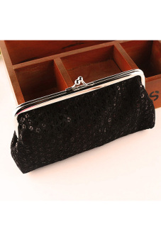 Women Lovely Style Lady Wallet Hasp Sequins Purse Clutch Bag Black - intl