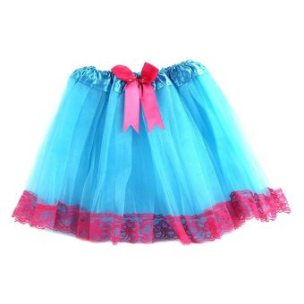 Moonar Kids Girls Summer Lace Bowknot Tutu Skirt Fit For 4 - 10 Years Old (Blue/Rose)