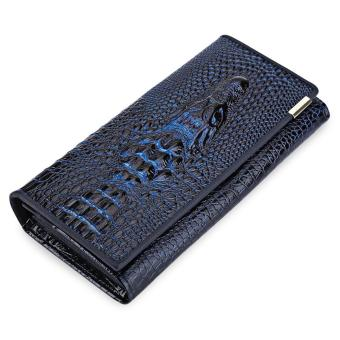 Crocodile Leather Cover Snap Fastener Men Clutch Wallet - intl