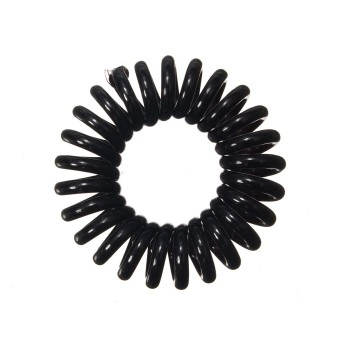3X Traceless Elastic Telephone Wire Cord Head Ties Hair Band Rope Ponytail Ring Black - Intl