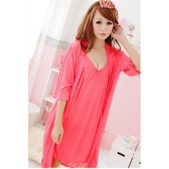 Đầm ngủ kèm áo khoác Trung Niên Thun mát Chodeal24h (cam nhạt)