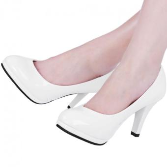 Ladies Thick High Heel Shoes Patent Leather Shallow Mouth Round Toe (White) - intl