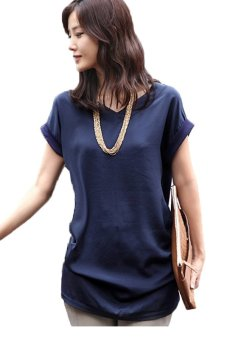 V-Neck Short Sleeve Blouse (Dark Blue) - Intl