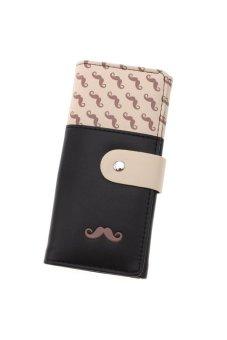 LALANG Women's Moustache Beard Zipper Leather Long Purse Wallet Card Black - intl