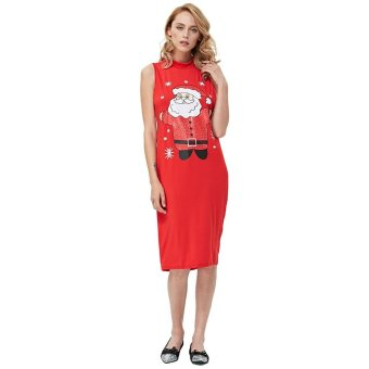 Gamiss Sweet Print Sleeveless Ladies Stand Collar Knitted Dress(Red) - intl