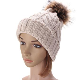 Women Winter Warm Wool Knit Beanie Raccoon Fur Pom Bobble Hat Crochet Ski Cap (Intl)