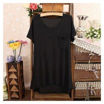 Sunweb Casual Women O-neck Short Sleeve Asymmetry Hem Loose Basic Tee T-shirt Solid Top Blouse ( Black ) - intl