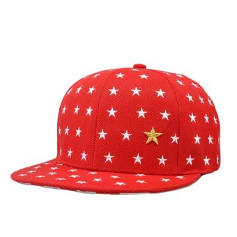Embroidered Star Cap Red