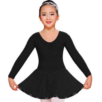 Cyber Arshiner Children Girl Kid Long Sleeve Ballroom Ballet Dance Skate Jumpsuit Dress ( Black ) (Intl)