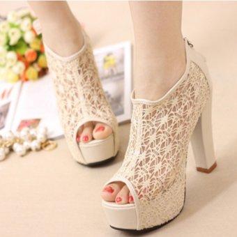 Giày cao gót phối ren duyên dáng G04 (Kem)