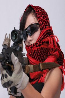 HKS Army Military Tactical Unisex Arab Shemagh Keffiyeh Shawl Scarves Wrap Red - intl