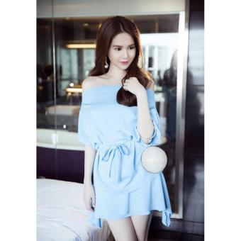 Áo váy thiết kế vai ngang dễ thương hợp dạo phố (xanh)