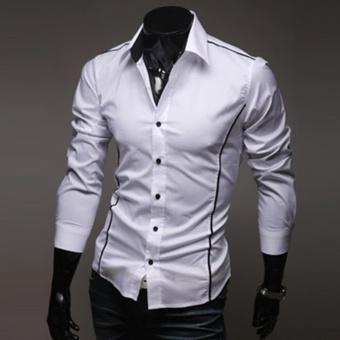 Moonar Fashion Men's Topstitching Style Slim Shirt Pure Color Shirt Long-Sleeve Casual Shirt (White) - intl