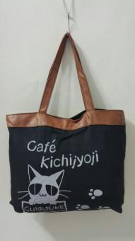 Túi Vải Tote Họa Tiết Cafe Kichi Đen Xinh Store