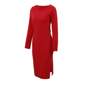 Sexy Women Dress Side Split Plunging Zipper O-Neck Long Sleeve Bodycon Dress Red / Dark Blue - Intl