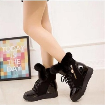 New Fashion Women's Warm Winter Flat Fur Boots Casual Mid-Calf Snow Boots Shoes Black - intl