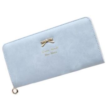 Women Clutch Long Bow Purse Wallet Card Holder Handbag Bag Sky Blue - intl