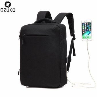 OZUKO Multi-functional Men Backpack Waterproof USB Charge Computer Backpacks 15Inch Laptop Bag Creative Student School Bags (Black) - intl