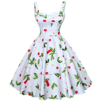 ZAFUL Woman Print Dress Retro Condole Belt (White) - Intl --TC