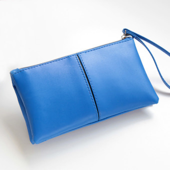 Women Leather Long Bifold Purse Zipper Clutch Handbag Wallet Card Bag Blue