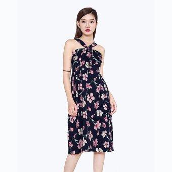 Đầm Vintage Xếp Ly Hoa Thời Trang Eden (Nền đỏ hoa trắng)