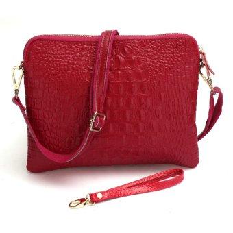 Women Genuine Leather Shoulder Envelope Diagonal Package Bags rose red - Intl