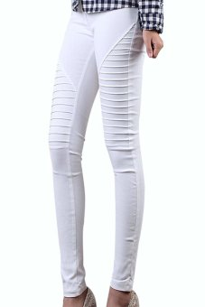 Linemart Casual Pleated Pencil Leggings (White) - intl