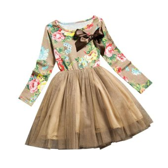 Girl Clothes Baby Princess Flowers Colorful Children Party Dress Yellow - intl