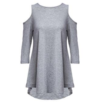 Women Polyester Round Collar Solid T-Shirt (Gray) - intl