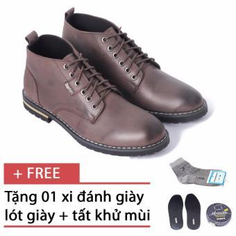 Giày Da Nam Tăng Chiều Cao Chukka Boots Smartmen GD1-09S (Nâu), tặng kèm bộ sản phẩm xi, lót tất cao cấp