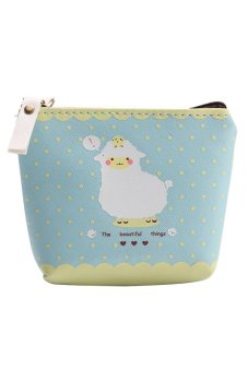 Bluelans Girl Coin Purse Animal Zipper Case PU Leather Wallet Bag Pouch Blue (Intl)