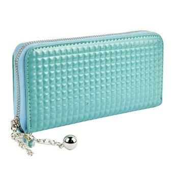 Bluelans Women Zip PU Leather Clutch Case Wallet Purse Peacock (Blue) (Intl)