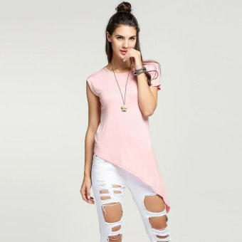 Sunweb Women Casual Loose Round Neck Batwing Short Sleeve Solid Irregular Hem Asymmetric T-Shirt Top ( Pink ) - intl