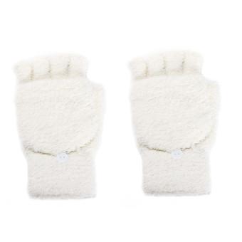 Girls Women Ladies Hand Wrist Warmer Winter Fingerless Gloves Mitten Beige