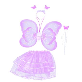 4 PCS/Set Cute Butterfly Wings Style Children Kids Wing Wand Headband Dresses Girl Fairy Stage Costume for Halloween Cosplay School Show Party Purple