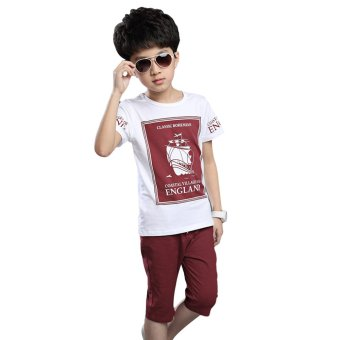 Fashion Boys Letter Printed T-shirt + Solid Color Trousers 2pcs (Wine Red) - intl