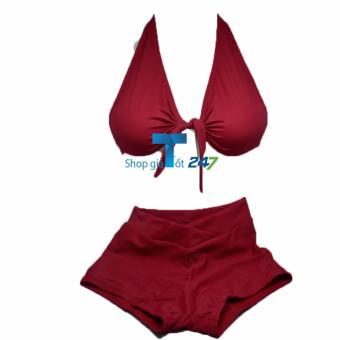 Bộ bơi áo thắt dây ngực kèm quần sooc vát chéo ( Đỏ)
