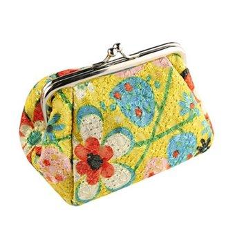 Moonar Women Fashion Cute Embroidered Case Wallet Card Keys Purse Vintage Flower Bags (Yellow) - intl
