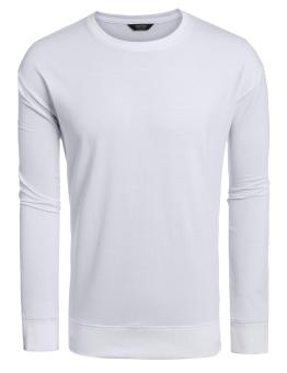 Linemart Men Casual O-Neck Long Sleeve Solid Decorative Zipper Pullover T-Shirt ( White ) - intl