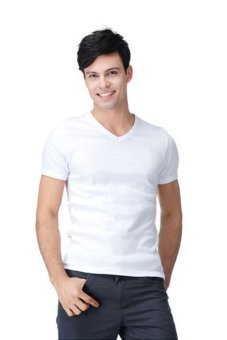 Lalang Casual Short Sleeve Fit Fashion V-Neck White - Intl - intl