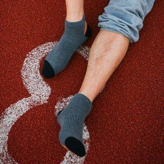 Mens Cotton Socks With Duck Tongue Breathable Deodorant Socks Basketball Sports Socks (Light Grey) - intl
