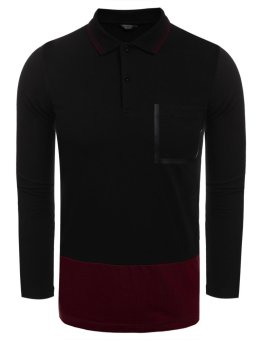Cyber Men Casual Long Sleeve Polo Collar Patchwork Slim Contrast Color Pullover Polo Shirt ( Dark Red ) - intl
