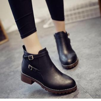 Giày boot nữ da bóng đế thô trẻ trung 3cm GBN13501