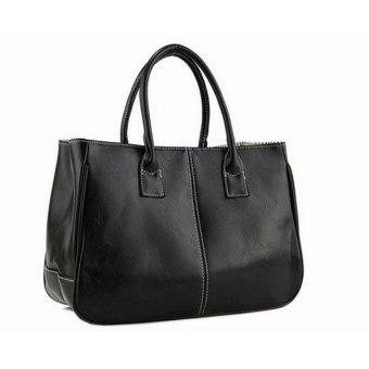 Fashion Elegant Korean shoulder bag Leather Women Lady Tote Handbag Black - intl