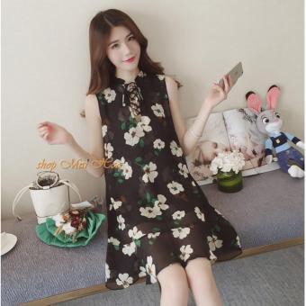 Đầm Voan Suông Hoa Lily - DN019 (Đen)