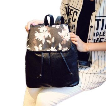 Women Leather Backpacks Foral Printing Backpack Schoolbag Travel Satchel Bag - intl