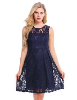 Cyber Women Sleeveless Fit and Flare Cocktail Party Floral Lace Dress ( Navy Blue ) - intl